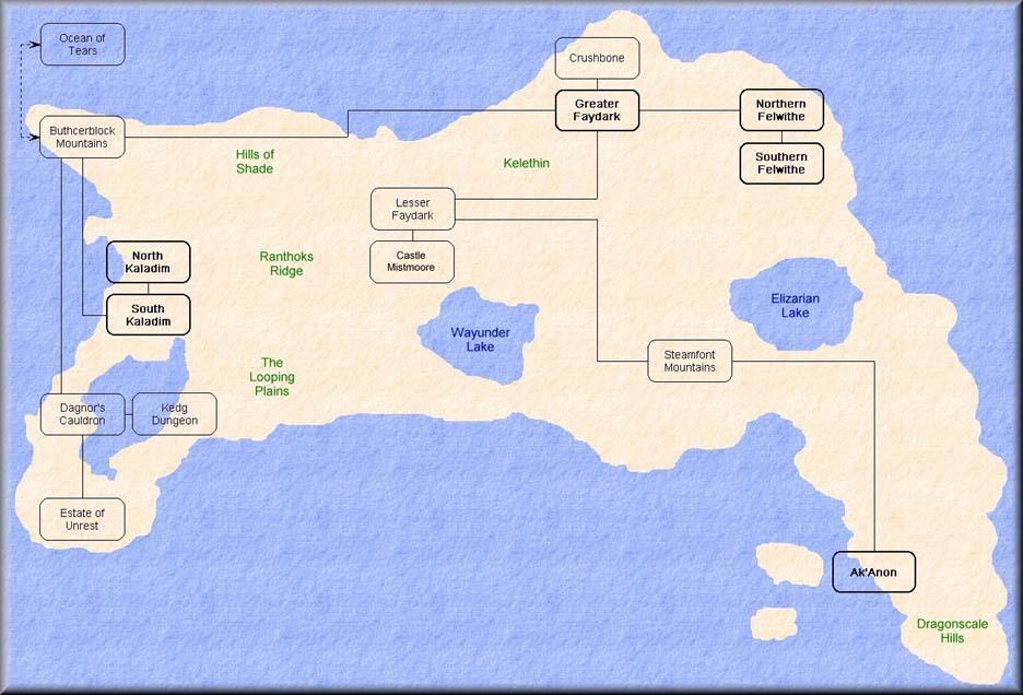 La géographie de Norrath et Luclin